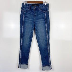 NEW Karl Lagerfeld Cropped Fringe Jeans Sz 10